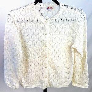 Vintage 1950s Delicate Knit Cardigan Sweater M-L